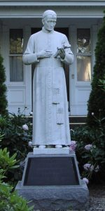 The first statue of St. Gaspar Bertoni ever made, at the Stigmatine campus in Walthamn, MA