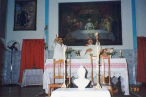 The Superior Provincial, Fr. José Odail Pertile, CSS presiding the Mass during the first encounter of the Bertonian Family, in 1995. The concelebrant was Fr. Paulo Staut.
